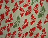 Red and Green Butterfly Kimono Silk Remnant 1