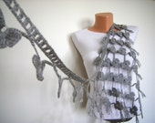 Valentine's Day Gifts  Hand Crochet GreyFlower Scarf- Long Necklace Winter Accessories-Fashion ,Elegant