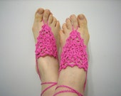 Fuchsia Pink Barefoot Sandals, Crochet Foot Jewelry, Victorian, Lace, Sexy, Yoga, Beach Pool,Mother's Day