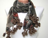 Handmade Brown  Chiffon Bandana,Headbandshawl, Fashion,Pashmina Scarf,Scarf for Spring and Summer