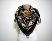 Handmade Crochet Black,Drak Pink ,Yellow,Green Traditional Turkish Fabric Scarf-Crochet Oya