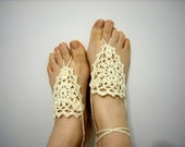 7 Pair- Cream Ivory Barefoot Sandals-Wedding Summer,Hand Crochet,Victorian, Sexy,Bridal Accessories