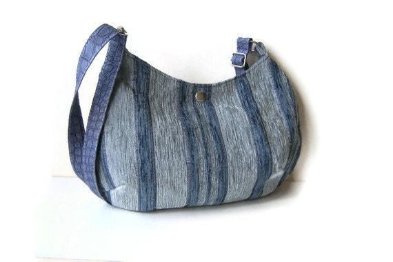 READY TO SHIP-Blue Grey Stripe Shoulder Bag