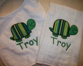 Custom Turtle Burp Cloth & Baby Bib set  - Applique and Monogram