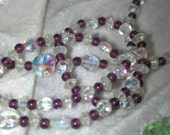 Vintage aurora borealis & purple glass bead necklace   E242