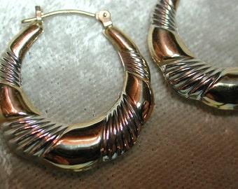 Vintage 2 tone 14K hoop earrings