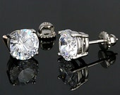 4.0cttw 8mm Round Brilliant-cut Russian Ice on Fire Diamond CZ Screw Back Stud Earrings, 925 Sterling Silver, Threaded Posts, Bling, Large