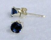 3mm Created Ceylon Blue Sapphire Stud Earrings, 0.20 carats, 925 Sterling Silver, Serene SDI30093-0468