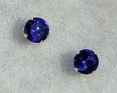 2mm, 0.06 carats created Ceylon Sapphire Stud Earrings 925 Sterling Silver, Serene, SDI30092-0467