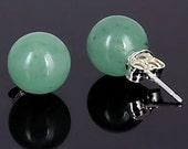 10mm Natural Green Jade Aventurine Ball Stud Post Earrings, Solid 925 Sterling Silver, Aventurine Earrings, Green Studs, Bridal Earrings