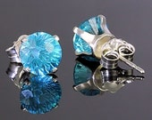 2.4ct Round Starfire Cut Brazilian Aquamarine Stud Earrings 925 Sterling Silver Posts, 6.5mm