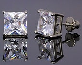 4.0 carats, 7mm Square Princess-cut Russian Ice on Fire Diamond CZ Screw Back Stud Post Earrings, Solid 925 Sterling Silver, Threaded Posts