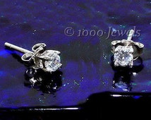 2mm Brilliant Cut Russian Ice Diamond CZ Cast Basket Stud Earrings 925 Silver .06 carats, SMS30020-0572