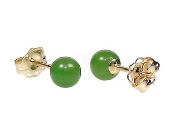 4mm Natural Nephrite Green Jade Ball Stud Post Earrings 14K Yellow Gold, Small Minimalist Earrings, Tiny, Petite, Second Hole