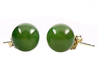 8mm Genuine Nephrite Jade Ball Stud Post Earrings, Solid 14K White or Yellow Gold, Rich Green Color, Pearl Cup Post, Natural Jade Earrings