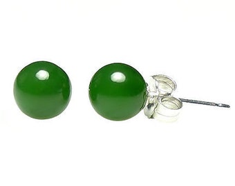 6mm Natural Nephrite Green Jade Ball Stud Post Earrings, 925 Sterling Silver, Jade Earrings, Green Earrings, Gem Earrings, Silver Earrings
