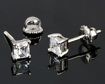 1.5ct 5mm Princess-cut Ice on Fire Diamond CZ Screw Back Stud Post Earrings Solid 925 Sterling Silver, JEX30205-3126A