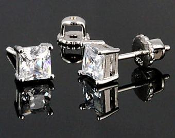 2.6ct 6mm Princess-cut Ice on Fire Diamond CZ Screw Back Stud Earrings, Solid 925 Sterling Silver, CZ Stud Earrings, Threaded Posts
