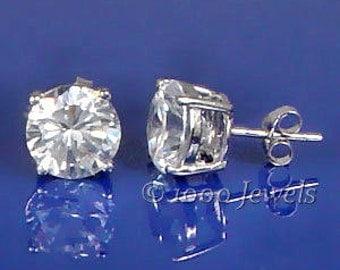 8mm 4.0 carat Russian Ice on Fire Diamond CZ Cast Basket Stud Earrings 925 Sterling Silver, SMS30026-0577