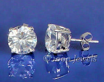 2.0 carat, 6.5mm Round Brilliant Cut Russian Ice on Fire CZ, simulated Diamond Stud Earrings, 925 Silver, Cast Basket Setting, 1 ct each Gem