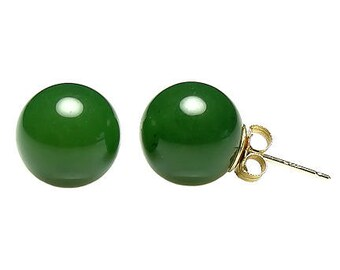 10mm Natural Nephrite Green Jade Ball Stud Post Earrings, 14K White or Yellow Gold, Jade Earrings, Ball Stud Earrings, Green Jade Earrings