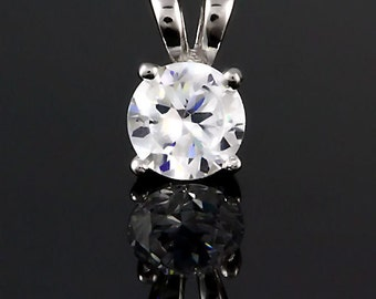 6mm Brilliant Cut Russian Ice Diamond CZ Solitaire Pendant 925 Sterling Silver 0.75 carats, 166-97