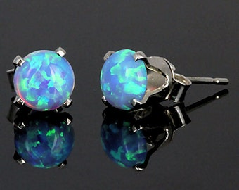 6mm Australian Azure Blue Opal Crown Set Stud Post Earrings, Solid 925 Sterling Silver, Sky Blue Opal Cab Earrings, Siler Opal Earrings