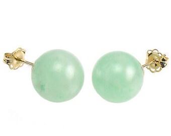 12mm Natural Green Jade Aventurine Ball Stud Post Earrings, 14K White or Yellow Gold, Aventurine Earrings, Green Studs, Bridal Earrings