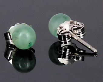 4mm Natural Green Jade Aventurine Ball Stud Post Earrings, Solid 925 Sterling Silver, Small Minimalist Earrings, Tiny Petite, Green Studs