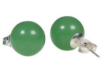 12mm Natural Green Jade Aventurine Ball Stud Post Earrings, Solid 925 Sterling Silver, Aventurine Earrings, Green Studs, Bridal Earrings