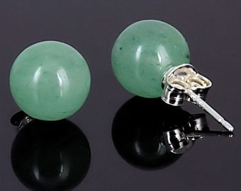10mm Natural Green Jade Aventurine Ball Stud Post Earrings, Solid 925 Sterling Silver, Aventurine Earrings, Green Studs, Bridal Earrings