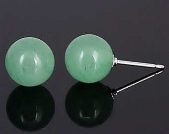 8mm Natural Green Jade Aventurine Ball Stud Post Earrings, Solid 925 Sterling Silver, Gemstone Earrings, Green Studs, Bridal Earrings