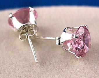 7mm 2.5 carats Pink Sapphire Ice CZ Stud Post Earrings 925 Sterling Silver, Ganesa, SDI30087-0456