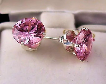 8mm Pink Sapphire Ice CZ Stud Post Earrings 925 Sterling Silver, 4.0 carats, Ganeva, SDI30088-0457