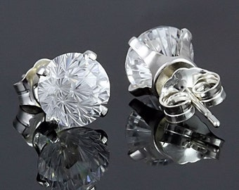 2.4ct Round Starfire Cut Clear Ice Diamond CZ Stud Earrings 925 Silver Posts, 6.5mm