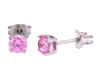 4mm 0.50 carat Pink Sapphire Ice Basket Set Stud Earrings 925 Sterling Silver, SMS30202-0719