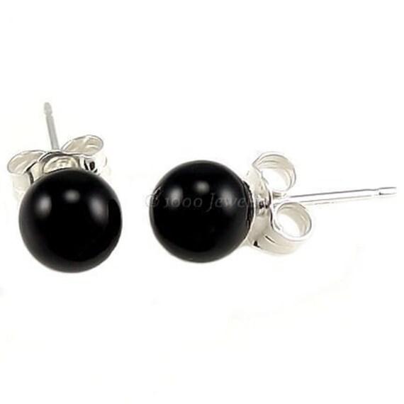 6mm Jet Black Onyx Ball Stud Post Earrings 925 Sterling Silver