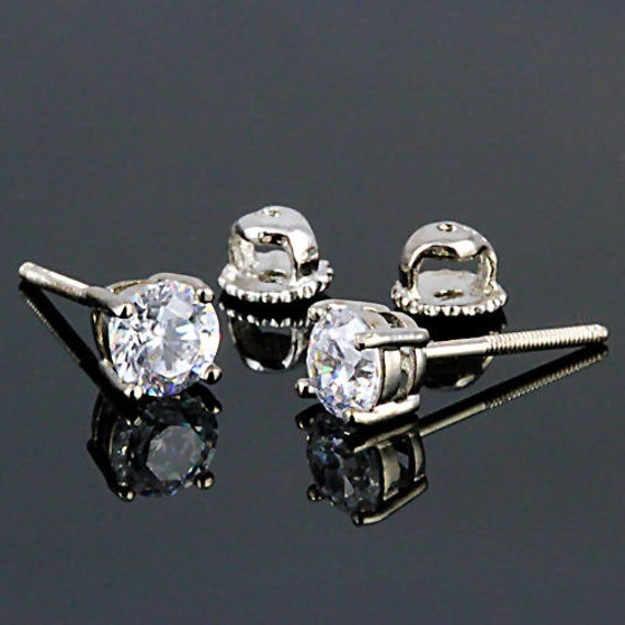 1.0ct 5mm Round Brilliant-cut Russian Ice on Fire Diamond CZ Screw Back Stud Earrings Solid 925 Sterling Silver, 30005-3119A