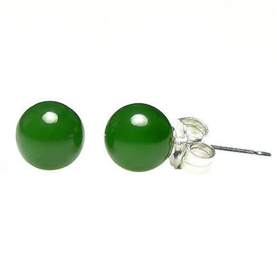 6mm Natural Nephrite Green Jade Ball Stud Post Earrings 925 Sterling Silver