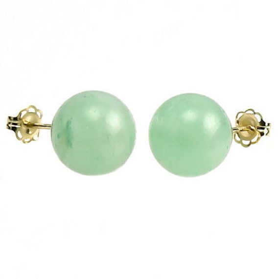 Bold 10mm Natural Green Jade Aventurine Ball Stud Post Earrings 14K Yellow or White Gold