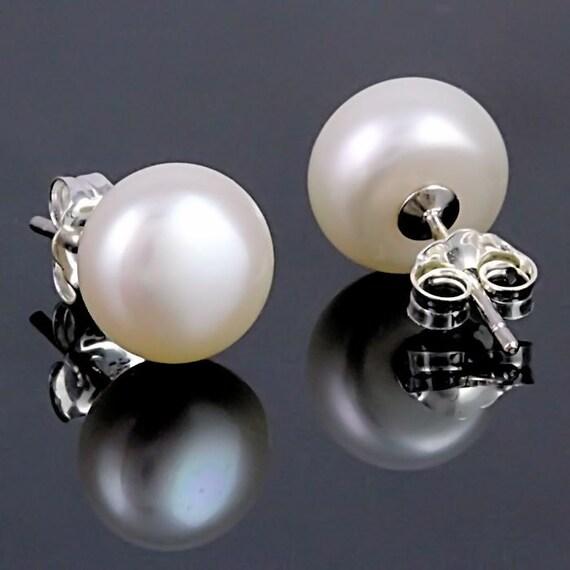 Large 11mm White Freshwater Pearl Stud Earrings AAA Grade 925 Silver Bridal Wedding Jewelry, Alida, SDI030471-0802