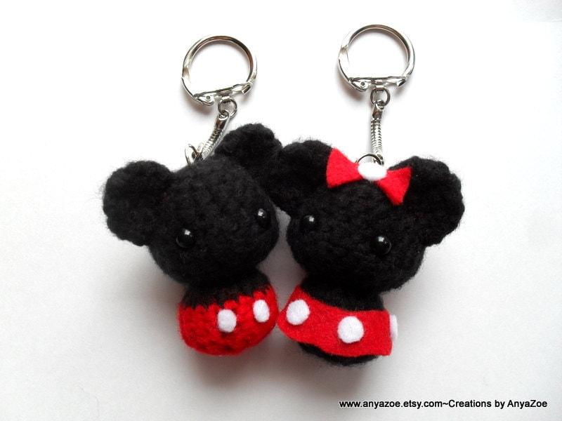 Mickey and Minnie Mouse Amigurumi Keychains by AnyaZoe on Etsy