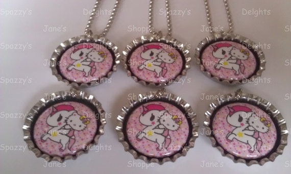 Hello Kawaii Kitty and Pegasus Flat Back Button Bottle Cap Necklaces / Zipper Pulls / Keychains  Set of 6 Party Favors