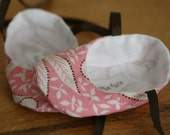 Light Pink Floral Cottage Chic Ballet Slippers, Soft Sole Baby Booties - Sale