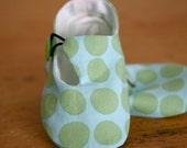 Baby Booties Blue and Lime Polka Dot Loafer Baby Shoes - SALE
