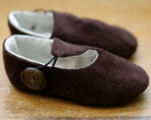 Brown Corduroy Loafer Baby Booties  - Ready to Ship