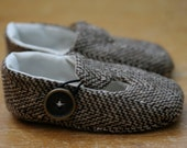 Baby Boy Shoes Hipster Tweed Wool Loafers, Soft Sole Baby Booties, Gender Neutral