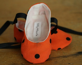 Halloween Shoes for Baby Girl Orange and Black Ballet Slippers -Sale