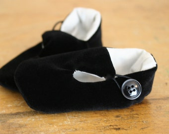 Baby Boy Shoes, Ring Bearer Shoes, Baby Loafers, Baby Booties, Black Velvet Holiday Dress Shoes,  Wedding Shoes