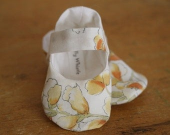 White and Yellow Floral Mary Jane Baby Booties - Sale